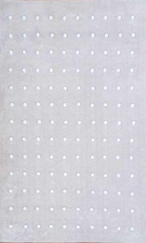 שטיח מלבן ישר בז' פונפון לבן